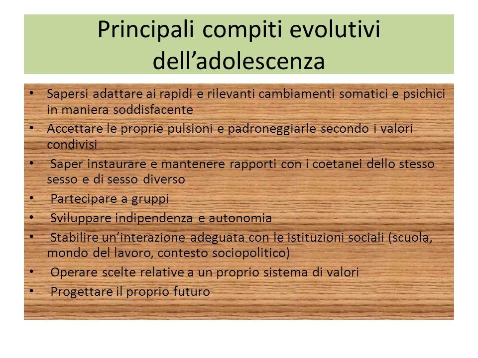 Principali compiti evolutivi dell'adolescenza