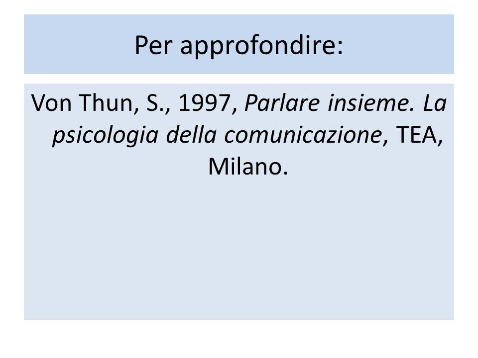 Per approfondire: Von Thun, S., 1997, Parlare insieme.