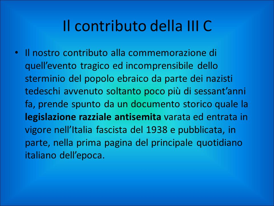 Il contributo della III C