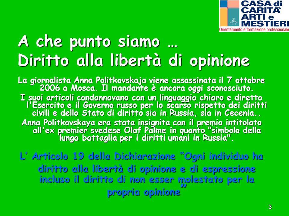 A che punto siamo … Diritto alla libertà di opinione