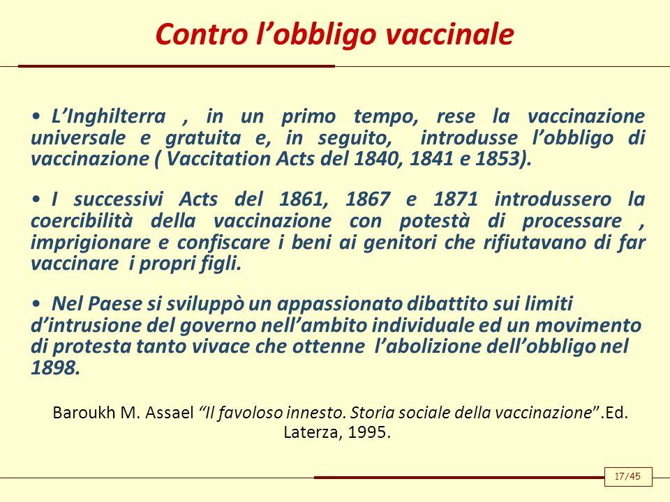Contro l'obbligo vaccinale
