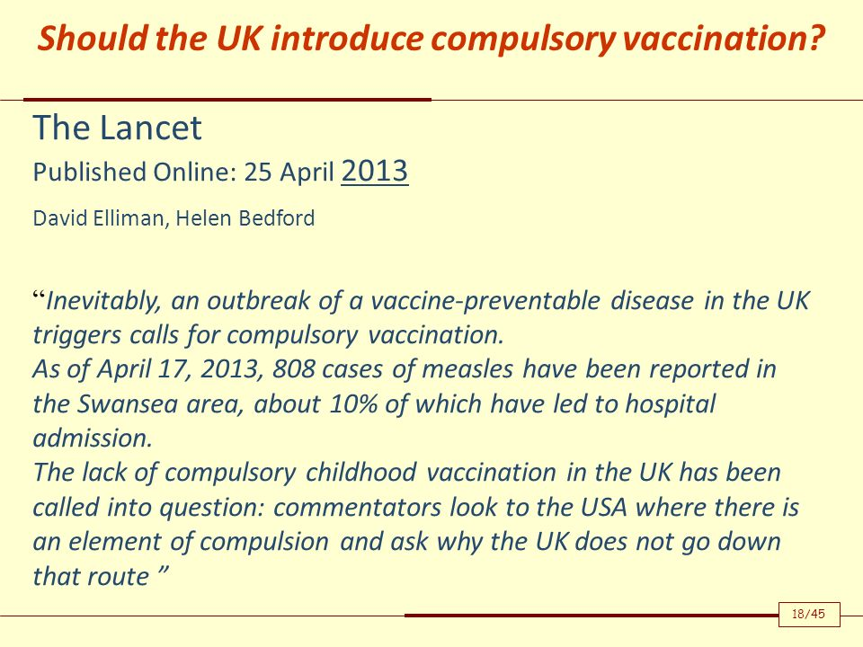 Should the UK introduce compulsory vaccination