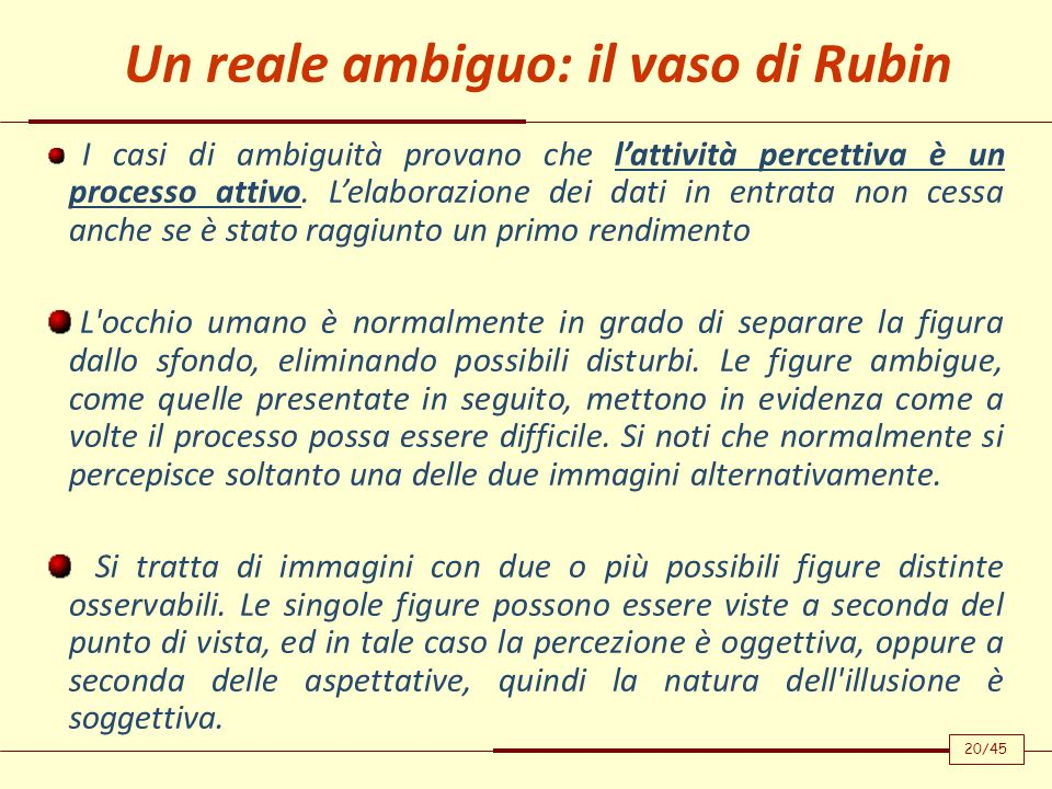 Un reale ambiguo: il vaso di Rubin