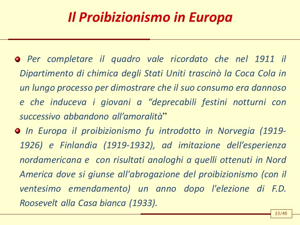 Il Proibizionismo in Europa