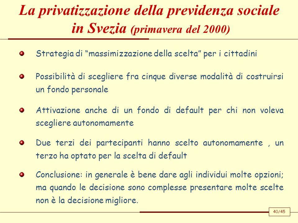 La privatizzazione della previdenza sociale