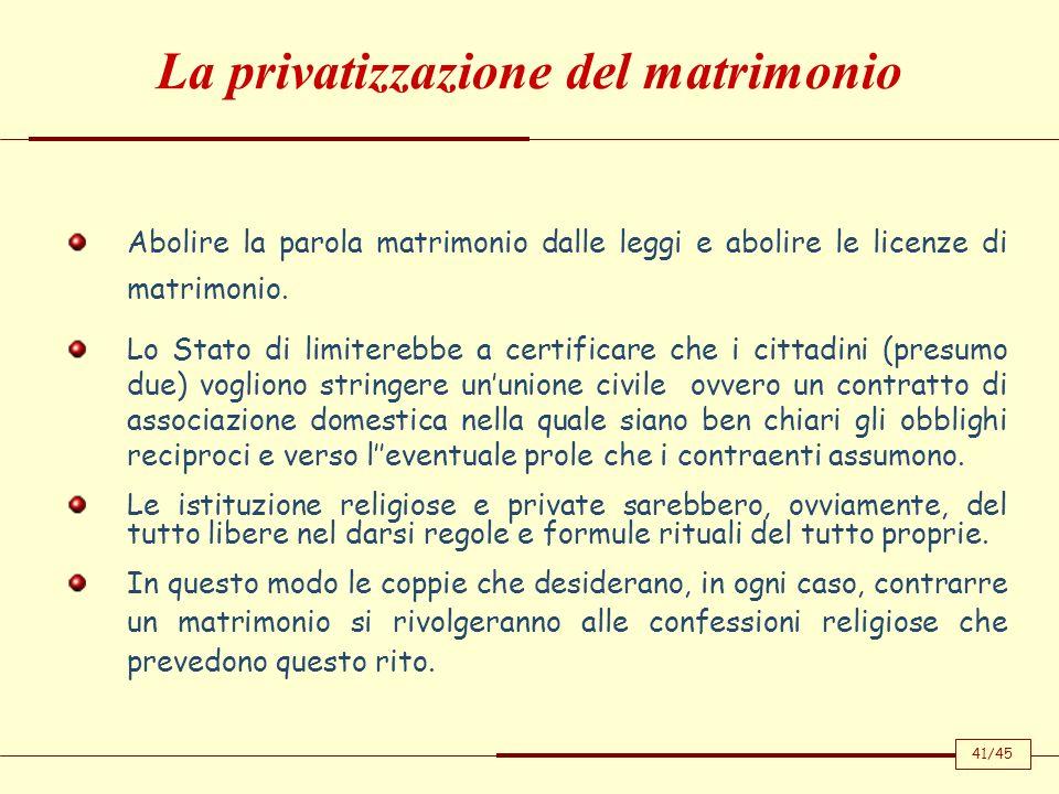 La privatizzazione del matrimonio
