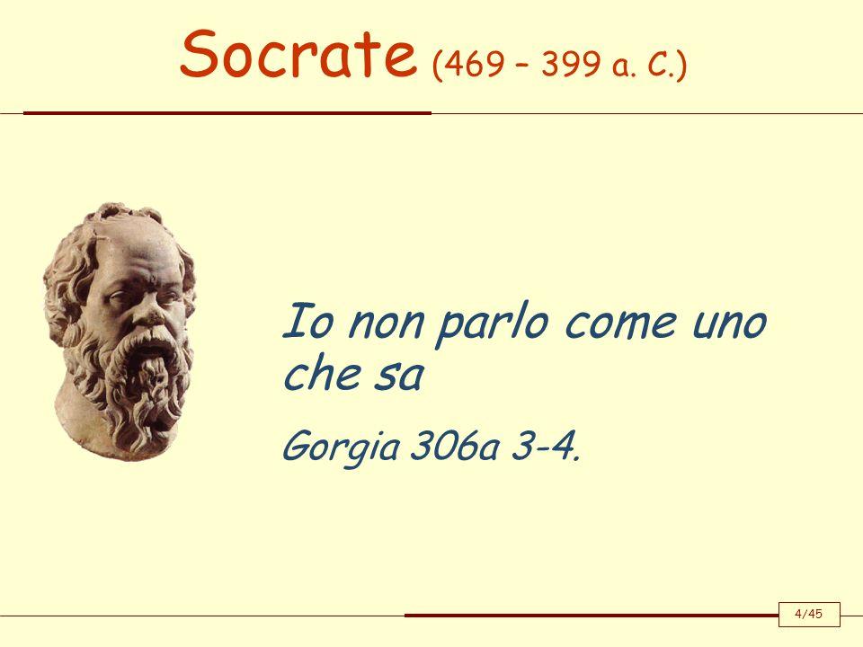 Socrate (469 – 399 a. C.) Io non parlo come uno che sa