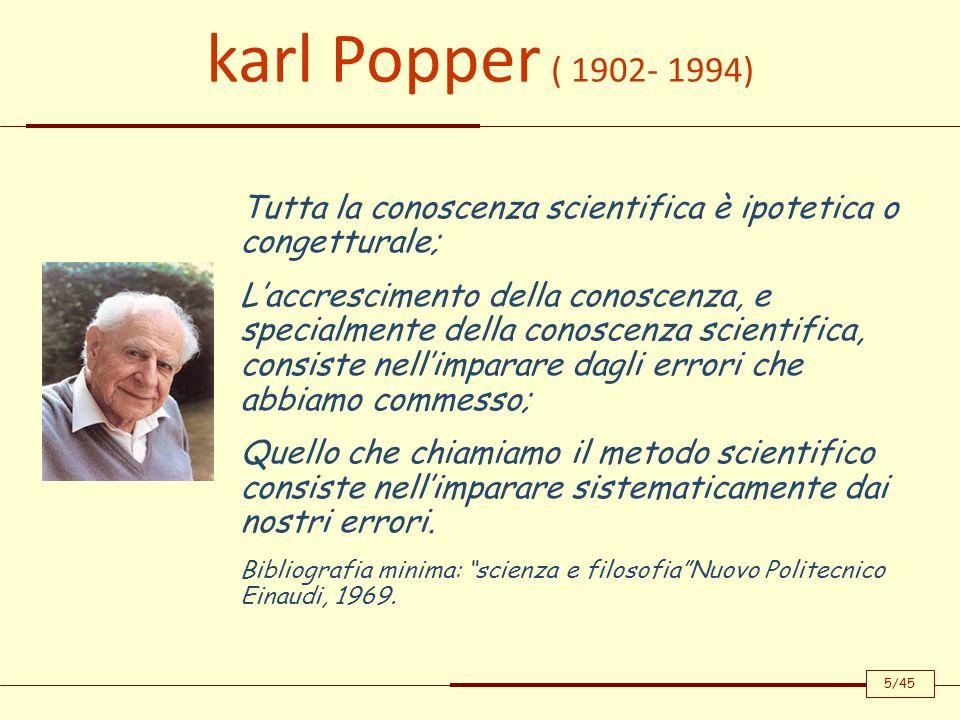 karl Popper ( 1902- 1994) Tutta la conoscenza scientifica è ipotetica o congetturale;