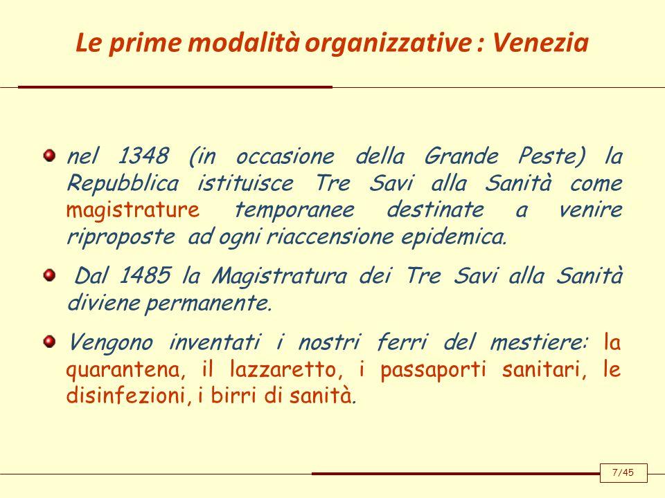 Le prime modalità organizzative : Venezia