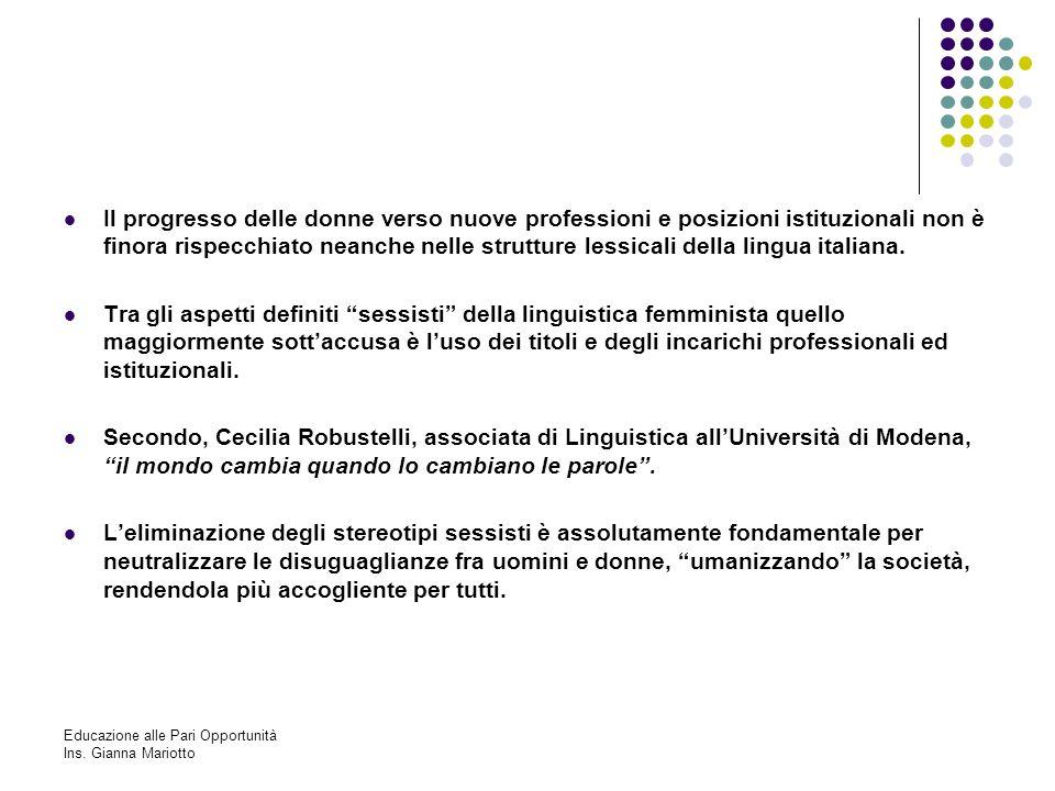 Il progresso delle donne verso nuove professioni e posizioni istituzionali non è finora rispecchiato neanche nelle strutture lessicali della lingua italiana.