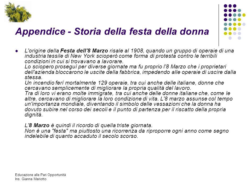 Appendice - Storia della festa della donna