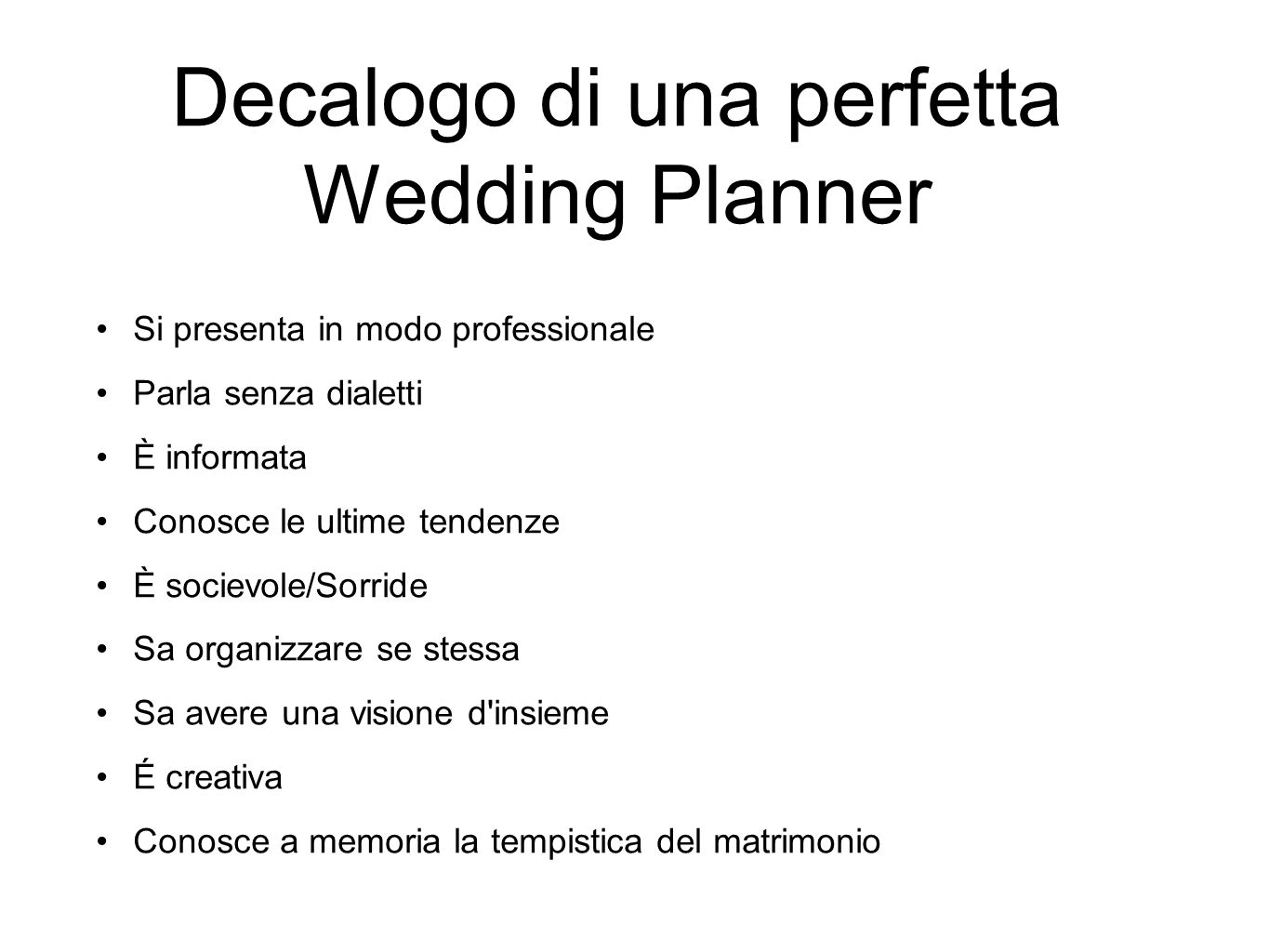 Decalogo di una perfetta Wedding Planner