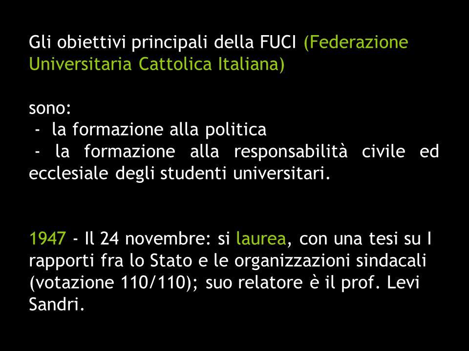 Gli obiettivi principali della FUCI (Federazione