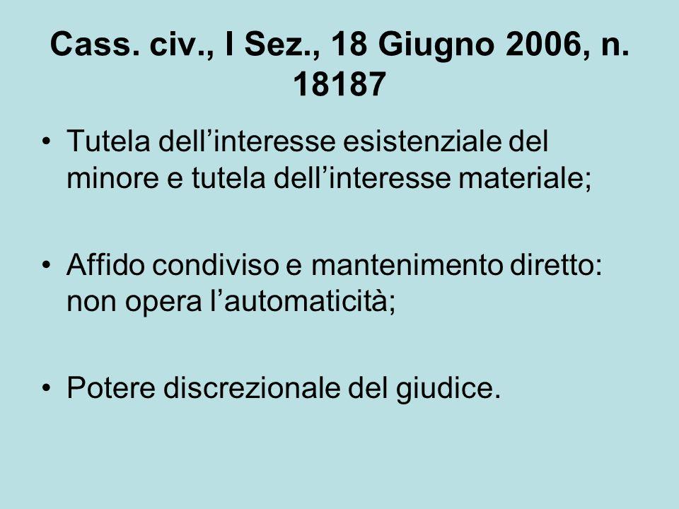 Cass. civ., I Sez., 18 Giugno 2006, n. 18187 Tutela dell'interesse esistenziale del minore e tutela dell'interesse materiale;
