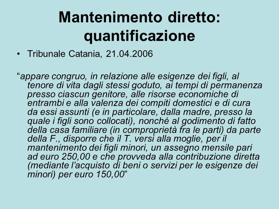 Mantenimento diretto: quantificazione