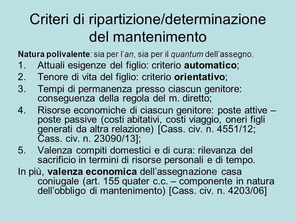Criteri di ripartizione/determinazione del mantenimento