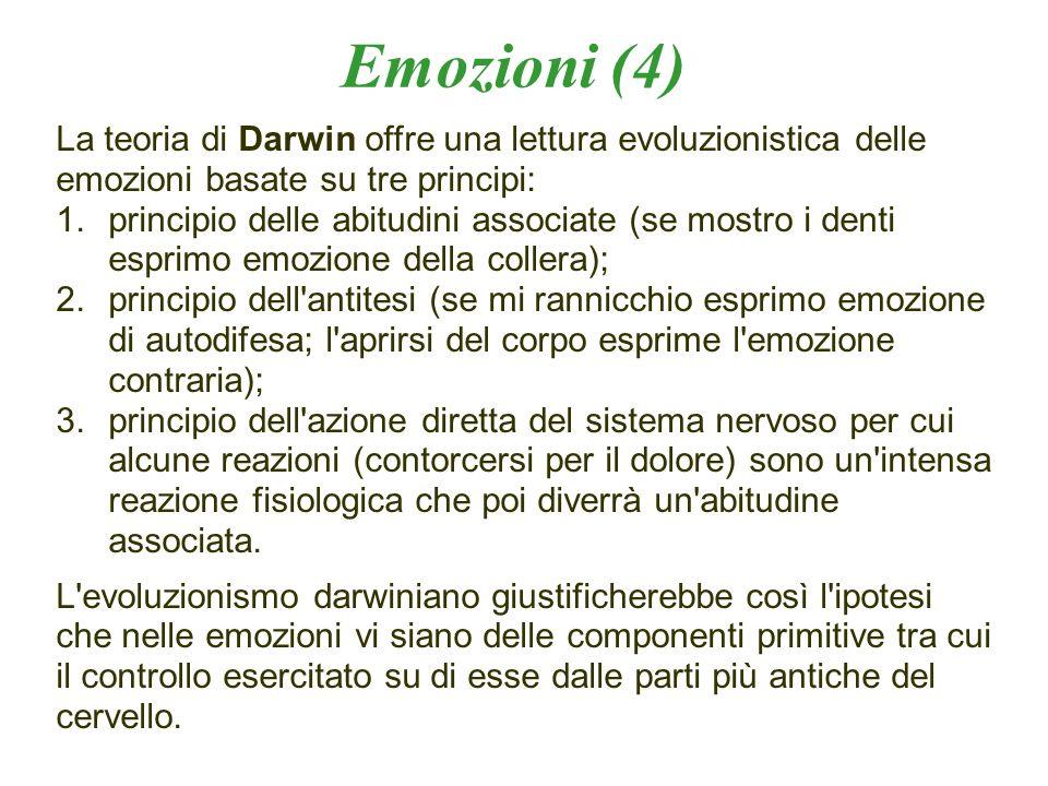Emozioni (4) La teoria di Darwin offre una lettura evoluzionistica delle emozioni basate su tre principi: