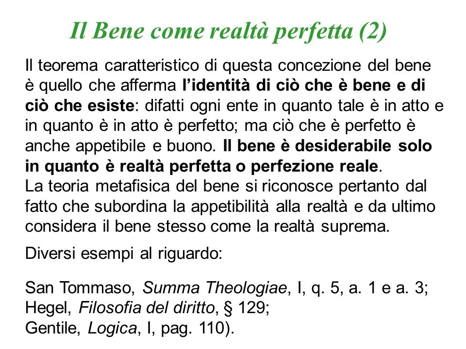Il Bene come realtà perfetta (2)