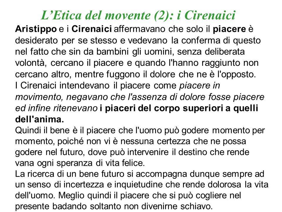 L'Etica del movente (2): i Cirenaici