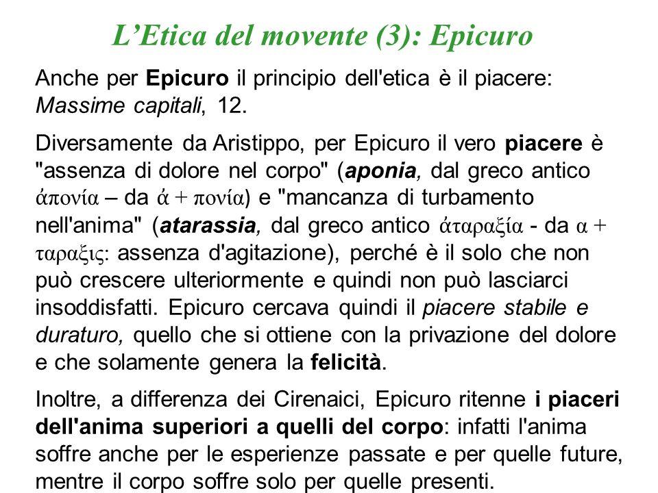 L'Etica del movente (3): Epicuro