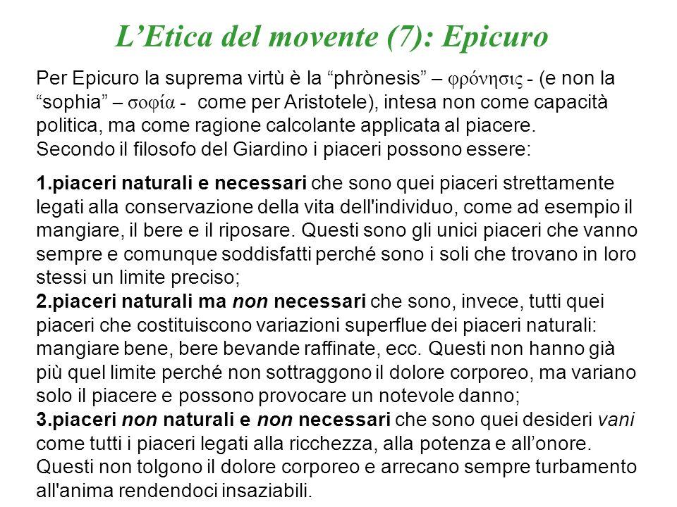 L'Etica del movente (7): Epicuro