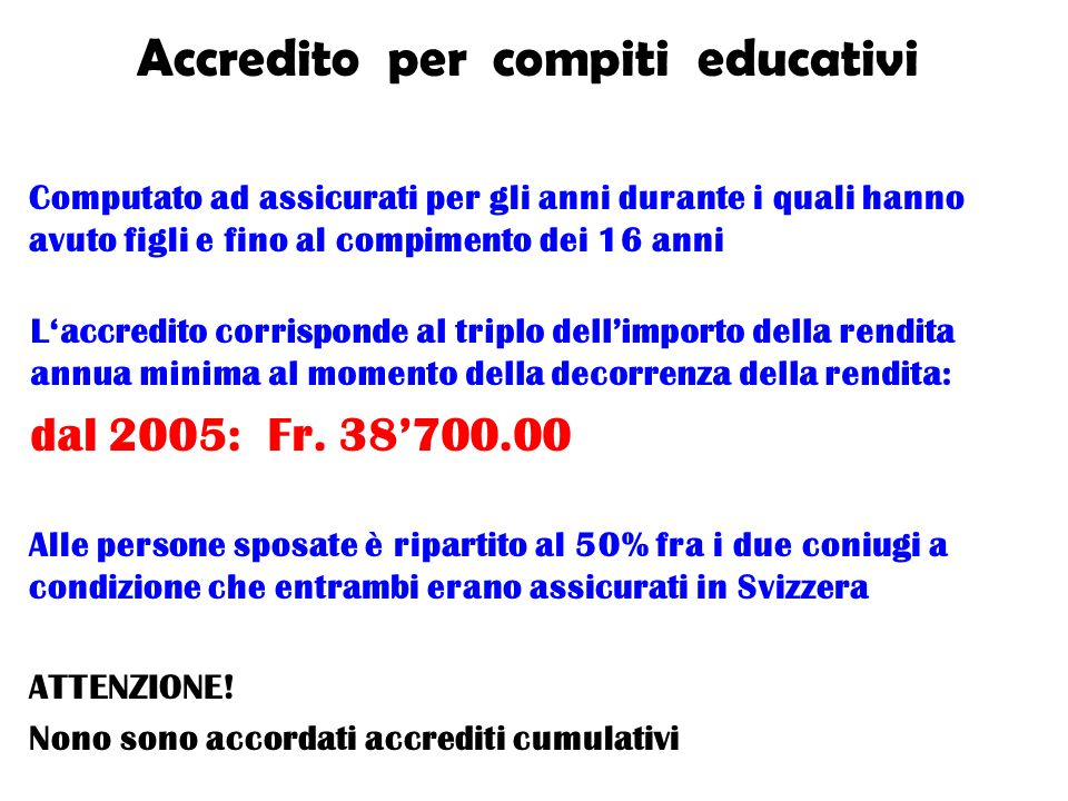 Accredito per compiti educativi