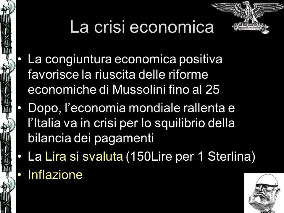 La crisi economica La congiuntura economica positiva favorisce la riuscita delle riforme economiche di Mussolini fino al 25.