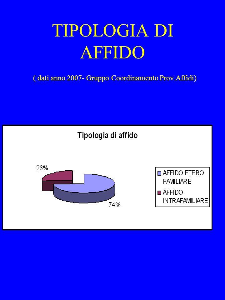 TIPOLOGIA DI AFFIDO ( dati anno 2007- Gruppo Coordinamento Prov