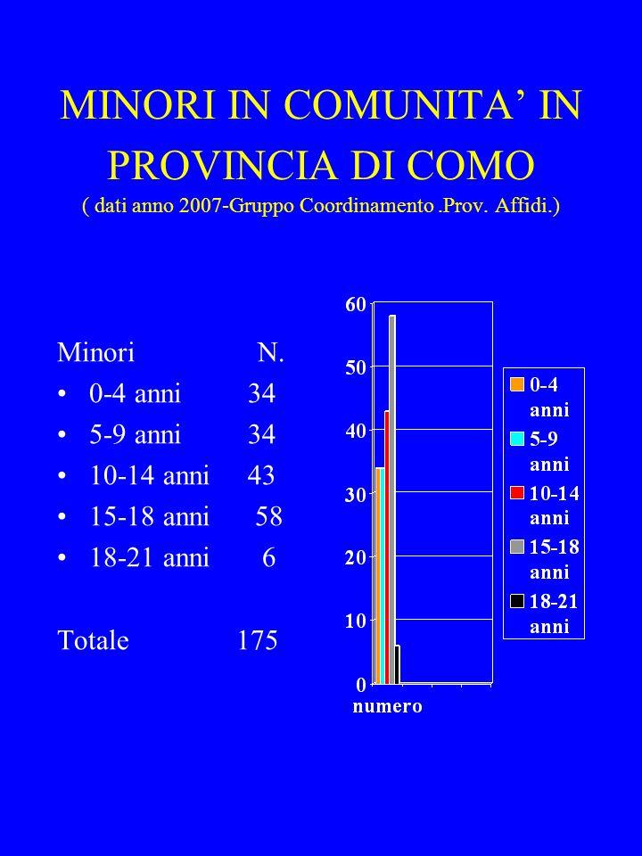 MINORI IN COMUNITA' IN PROVINCIA DI COMO ( dati anno 2007-Gruppo Coordinamento .Prov. Affidi.)
