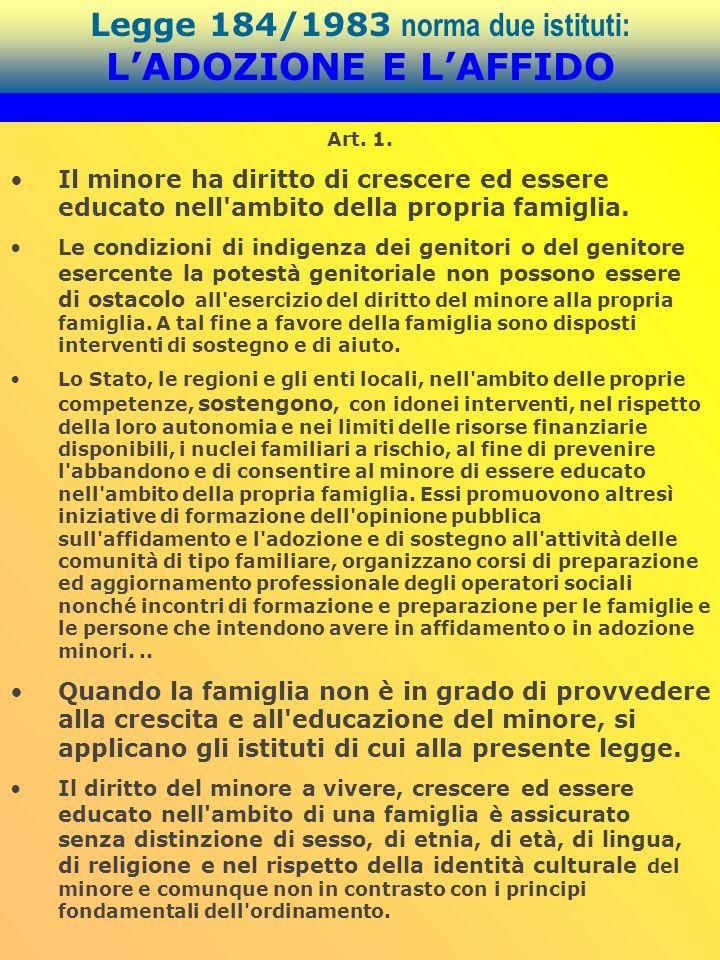 Legge 184/1983 norma due istituti: L'ADOZIONE E L'AFFIDO