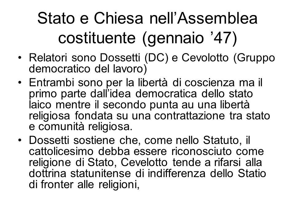 Stato e Chiesa nell'Assemblea costituente (gennaio '47)