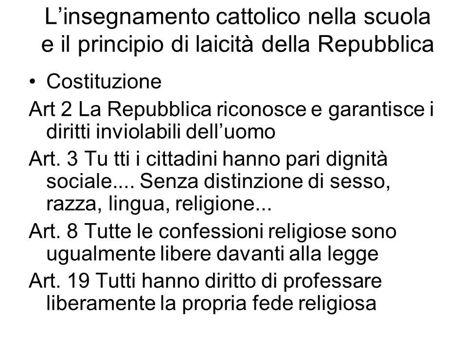 L'insegnamento cattolico nella scuola e il principio di laicità della Repubblica
