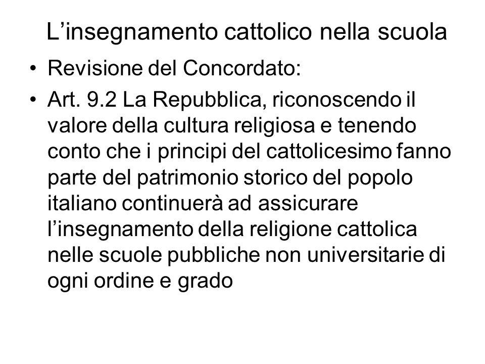 L'insegnamento cattolico nella scuola