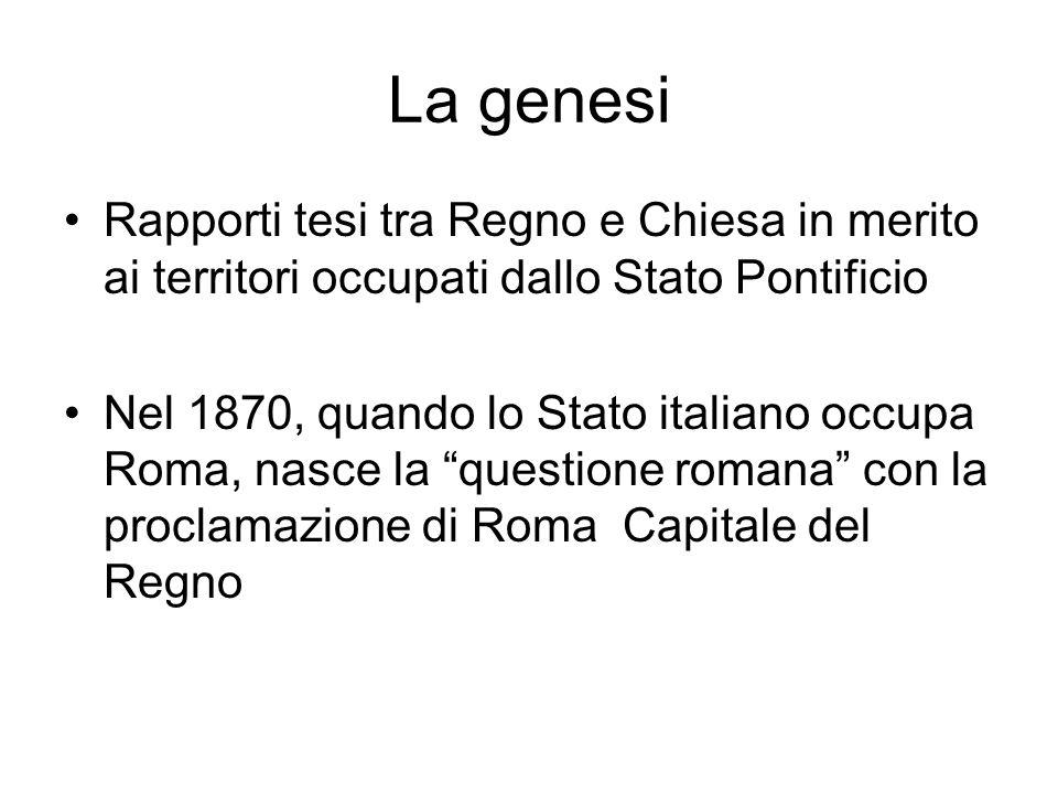 La genesi Rapporti tesi tra Regno e Chiesa in merito ai territori occupati dallo Stato Pontificio.