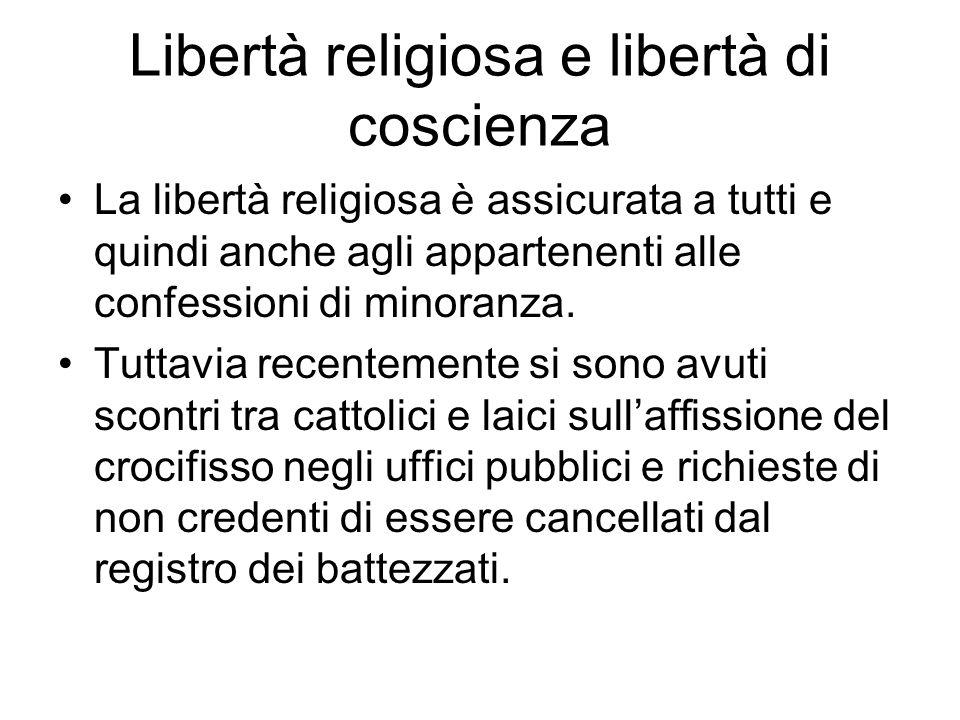 Libertà religiosa e libertà di coscienza