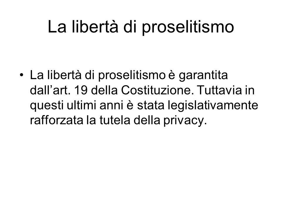 La libertà di proselitismo