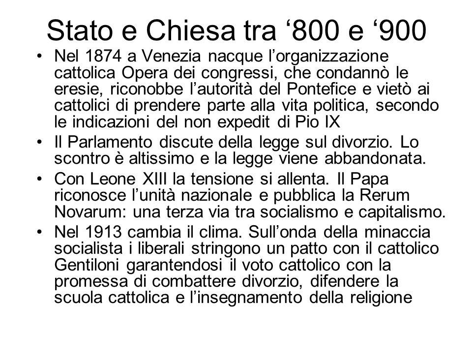 Stato e Chiesa tra '800 e '900