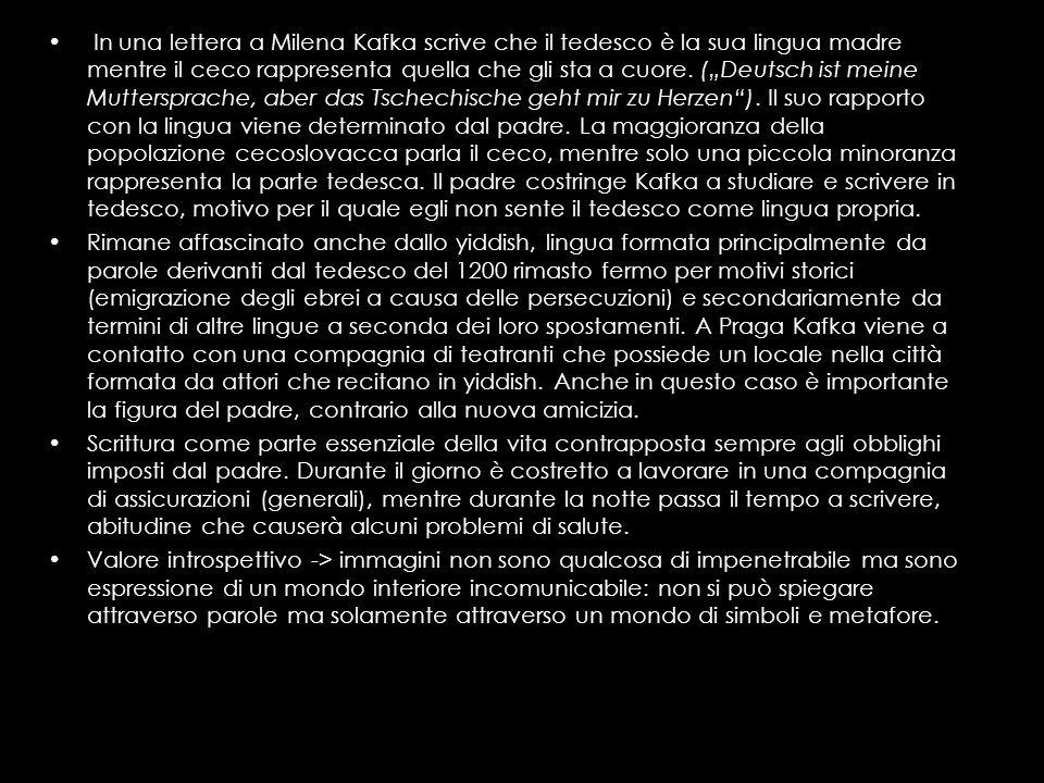 """In una lettera a Milena Kafka scrive che il tedesco è la sua lingua madre mentre il ceco rappresenta quella che gli sta a cuore. (""""Deutsch ist meine Muttersprache, aber das Tschechische geht mir zu Herzen ). Il suo rapporto con la lingua viene determinato dal padre. La maggioranza della popolazione cecoslovacca parla il ceco, mentre solo una piccola minoranza rappresenta la parte tedesca. Il padre costringe Kafka a studiare e scrivere in tedesco, motivo per il quale egli non sente il tedesco come lingua propria."""