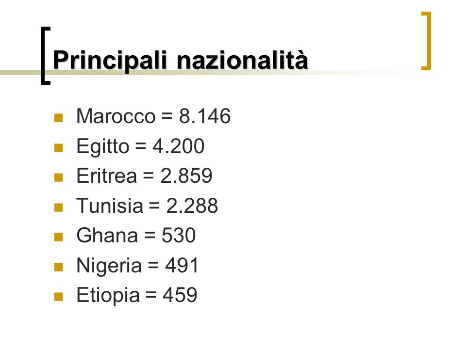 Principali nazionalità