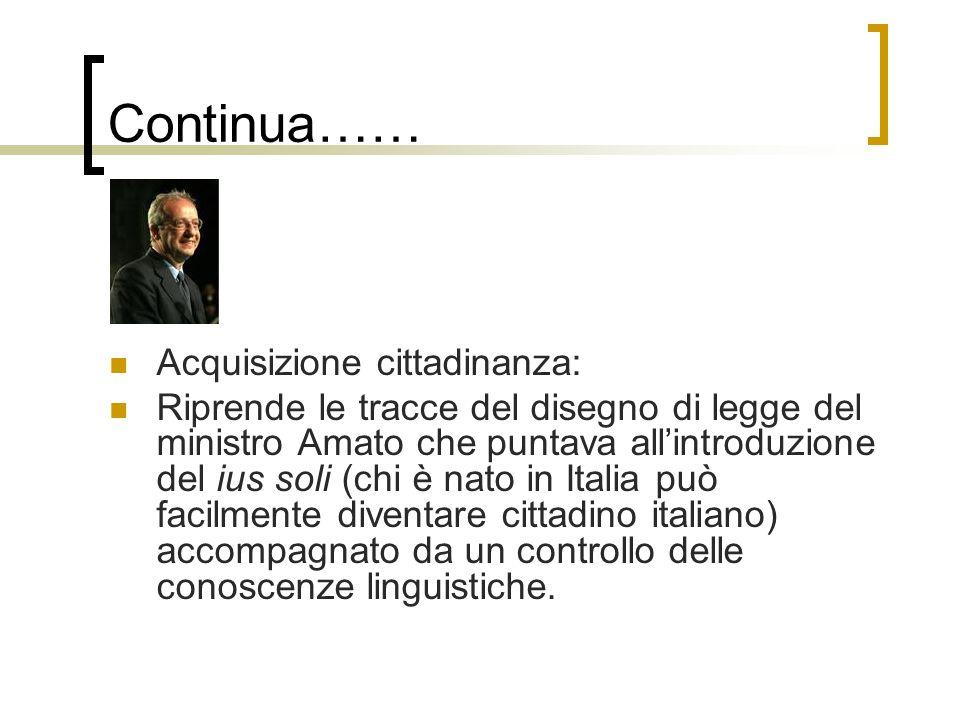 Continua…… Acquisizione cittadinanza: