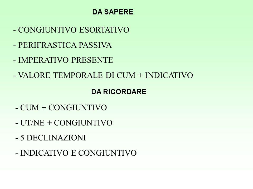 - CONGIUNTIVO ESORTATIVO - PERIFRASTICA PASSIVA - IMPERATIVO PRESENTE