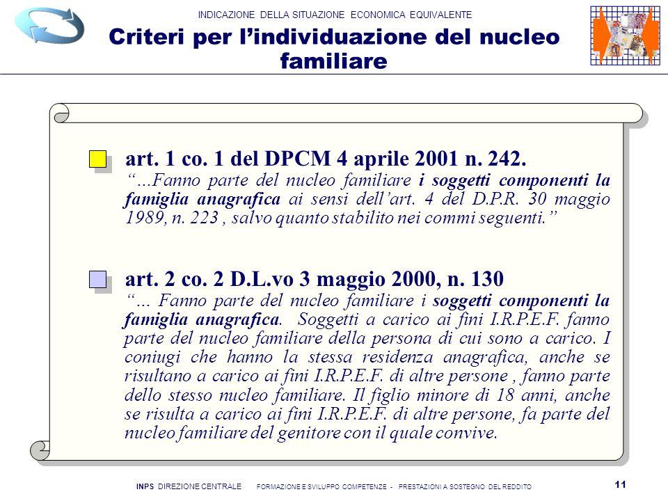 Criteri per l'individuazione del nucleo familiare