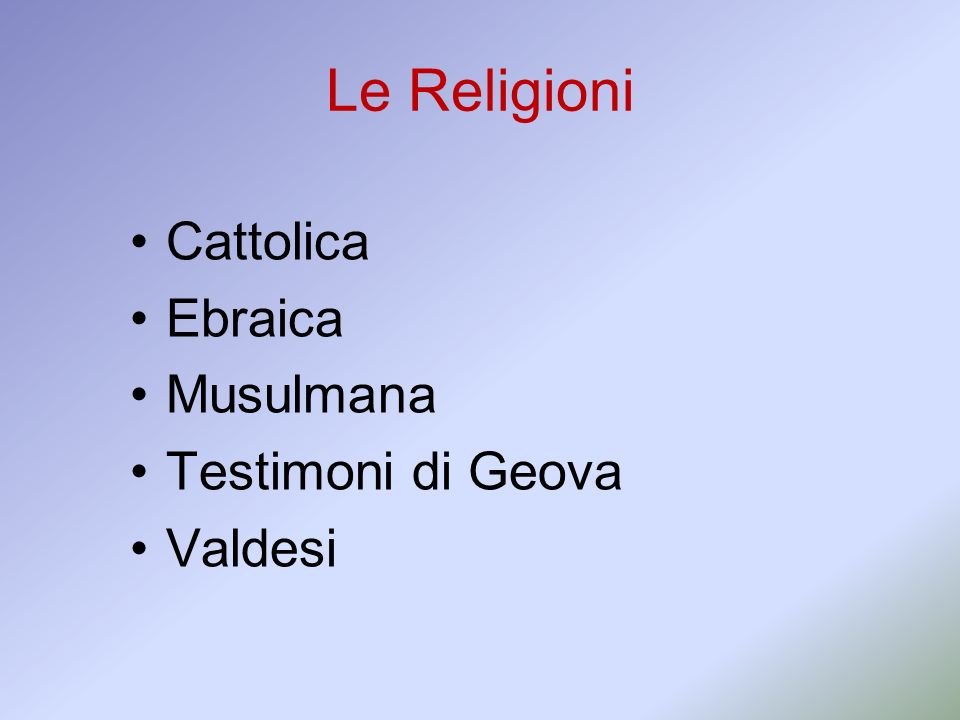 Le Religioni Cattolica Ebraica Musulmana Testimoni di Geova Valdesi 2
