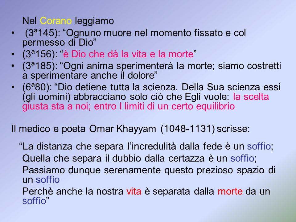 (3ª145): Ognuno muore nel momento fissato e col permesso di Dio