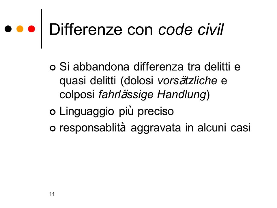 Differenze con code civil