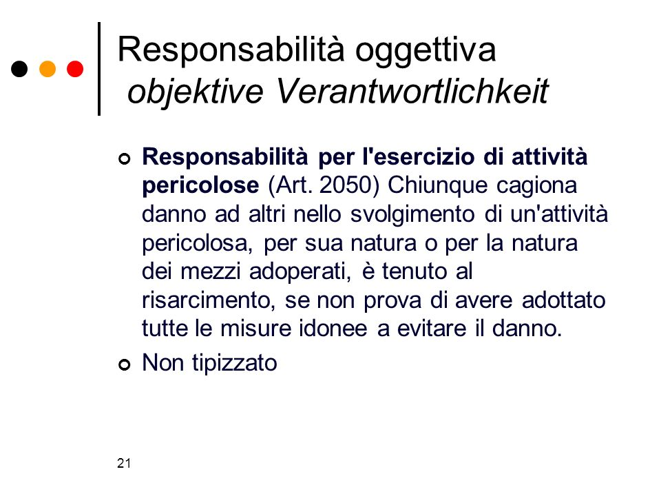 Responsabilità oggettiva objektive Verantwortlichkeit