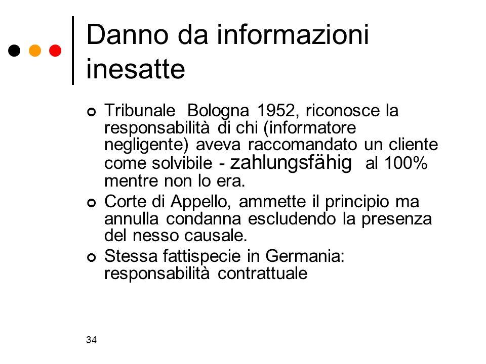 Danno da informazioni inesatte