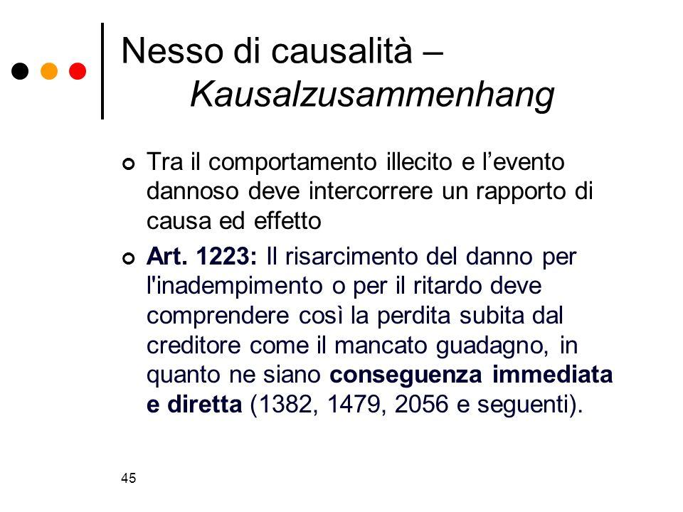 Nesso di causalità – Kausalzusammenhang