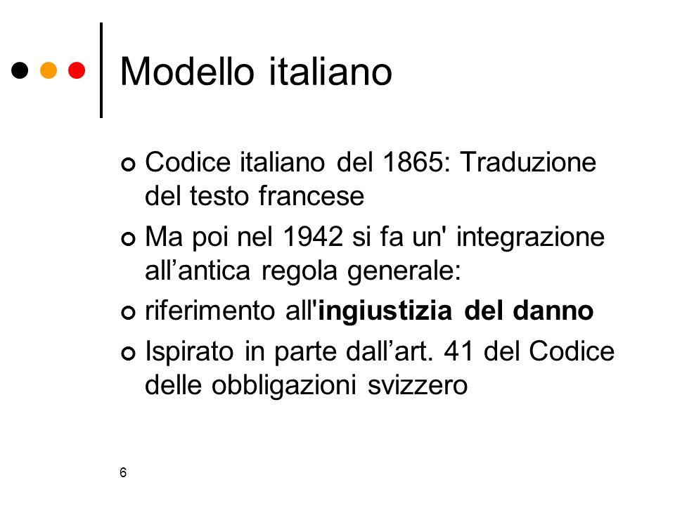 Modello italiano Codice italiano del 1865: Traduzione del testo francese. Ma poi nel 1942 si fa un integrazione all'antica regola generale: