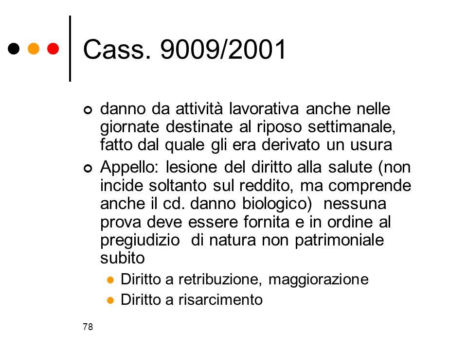 Cass. 9009/2001 danno da attività lavorativa anche nelle giornate destinate al riposo settimanale, fatto dal quale gli era derivato un usura.